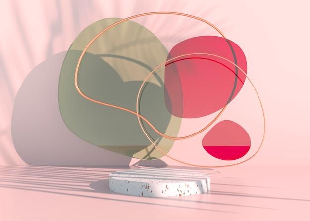 야자수가 있는 보헤미안 연단은 화장품 프레젠테이션을 위해 그림자와 파스텔 색상을 남깁니다. 빈 쇼케이스 받침대 배경이 조롱됩니다. 3d 렌더링입니다.
