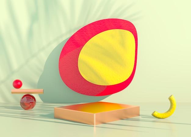 야자수가 있는 보헤미안 연단은 화장품 프레젠테이션을 위해 그림자와 파스텔 색상을 남깁니다. 빈 쇼케이스 받침대 배경이 조롱됩니다. 3d.
