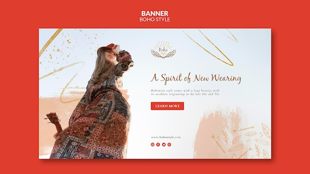 Boho style banner template style