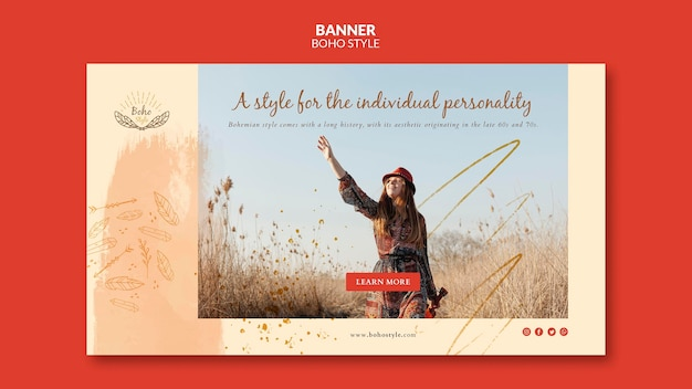 Boho style banner template