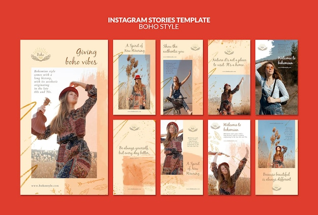 Boho style instagram stories template