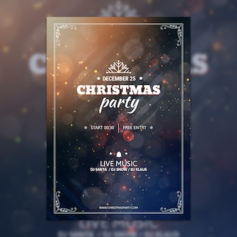 Bokeh christmas party poster mockup