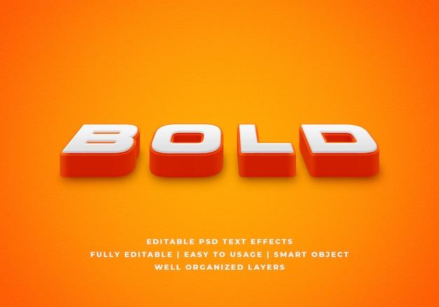 Bold 3d text style effect mockup