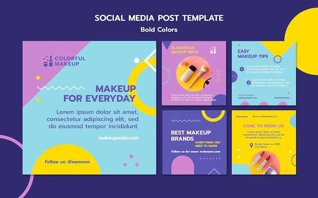 Bold colors concept social  media post template