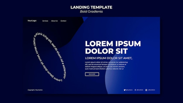 Bold gradients landing page