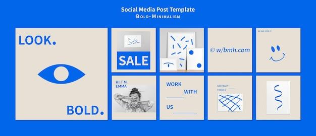대담한 미니멀리즘 소셜 미디어 게시물 무료 PSD 파일