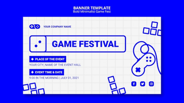 Bold minimalist game fest fest banner template
