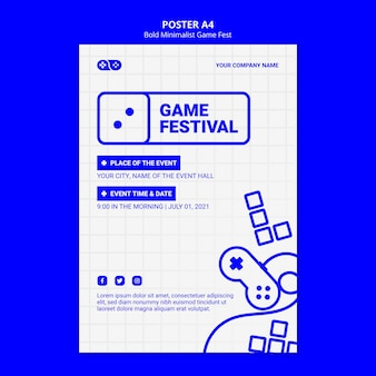 Bold minimalist game fest fest flyer template
