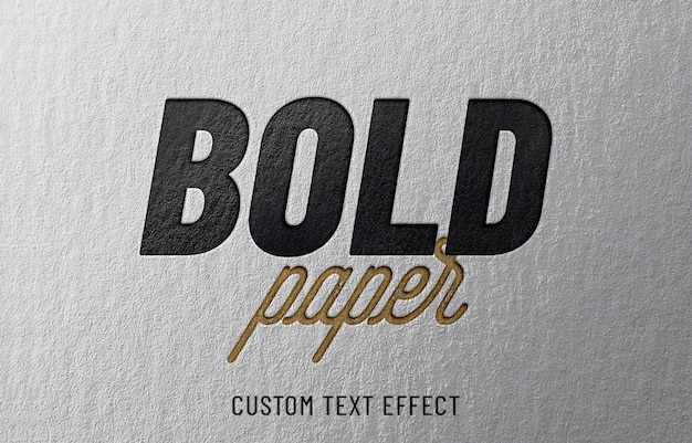 Bold paper embossed text effect