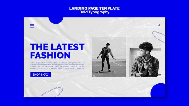 Bold typography landing page