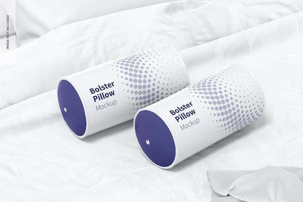 Bolster pillows mockup, vista sinistra