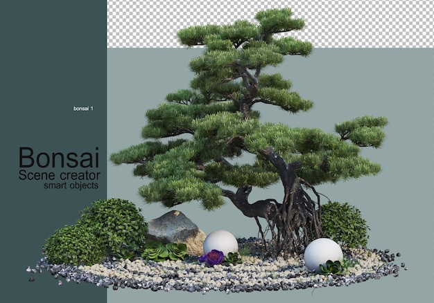 자갈 정원의 분재 나무와 관목