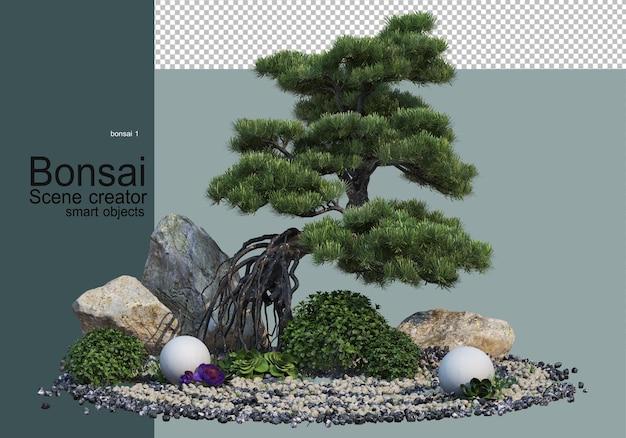 Bonsai trees and shrubs in the gravel garden