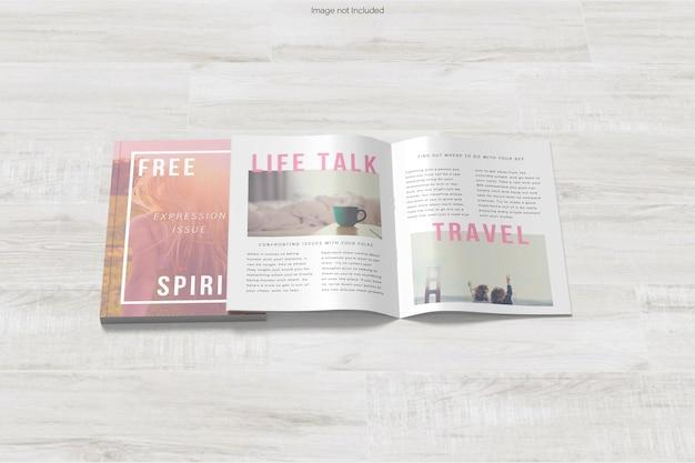 本と雑誌のモックアップ デザインのレンダリング