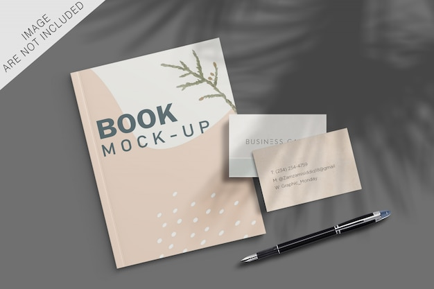 Book and business card mockup