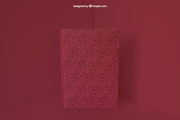 Book in corner with red color effect