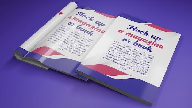 本の表紙と開いた本のモックアップ