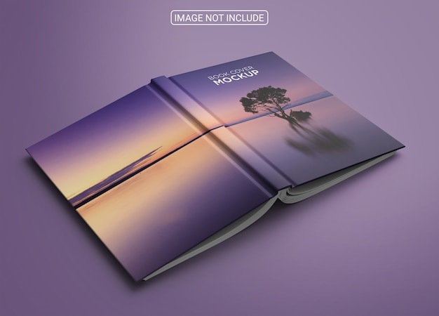 Book cover on blue background mockup