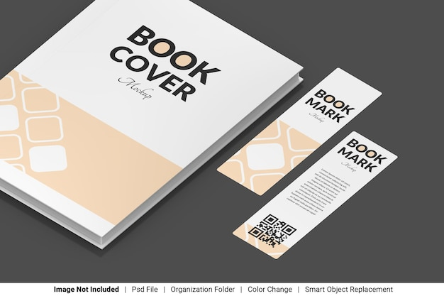 Book cover and bookmark mockup