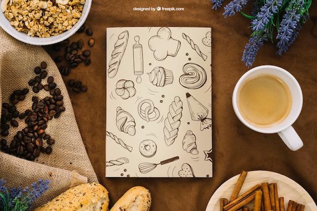원두 커피와 책 표지 구성