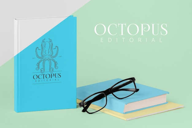 Book cover mock-up assortment with glasses