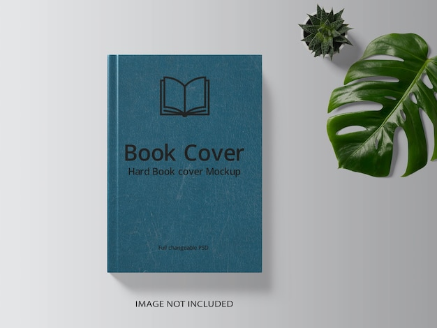 Book cover mockup design with a monstera leaf