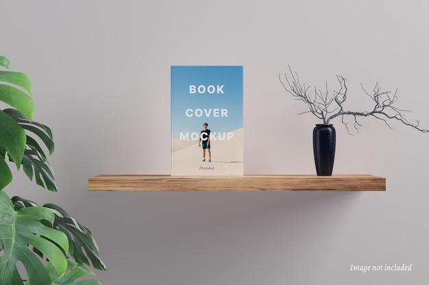 Book cover mockup on a floating shelf