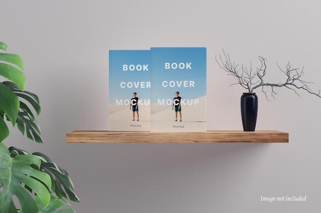 떠 다니는 선반에 책 표지 모형
