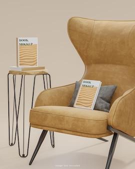 ベージュのソファとサイドテーブルの上の本の表紙のモックアップモダンな背景3dレンダリング