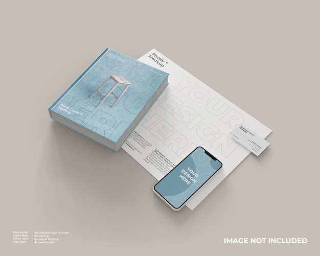 Макет обложки книги, смартфоны и визитки на макете плаката