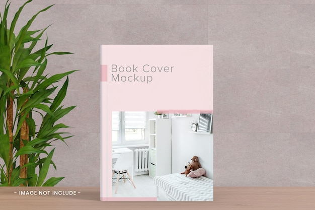 Book cover mockup at the table