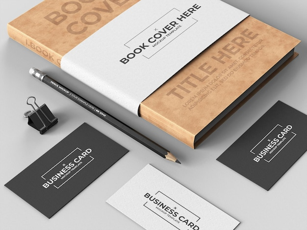 Book cover mockup template with business cards
