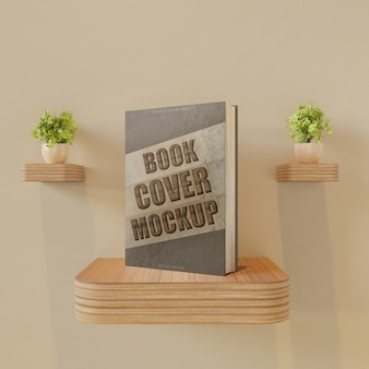 Book cover mockup on wall desk with couple plant decoration
