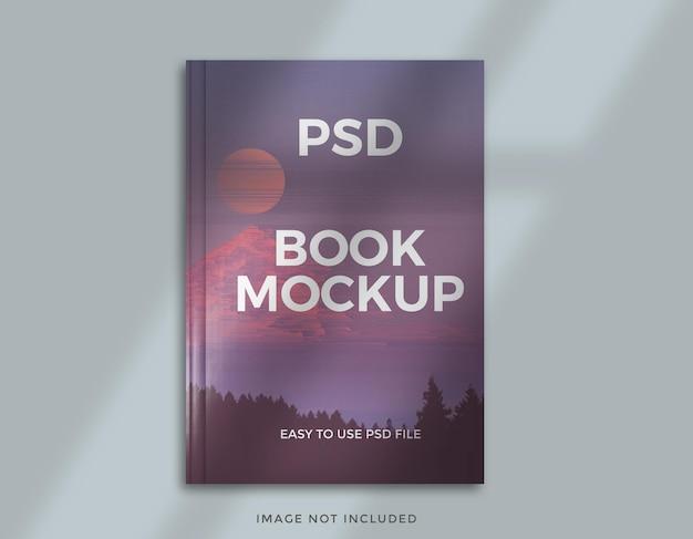 창 그림자 오버레이가있는 책 표지 모형