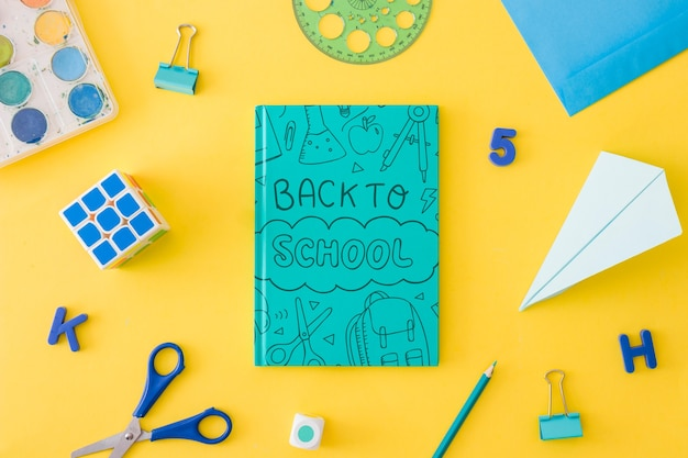 Book cover mockup with back to school concept