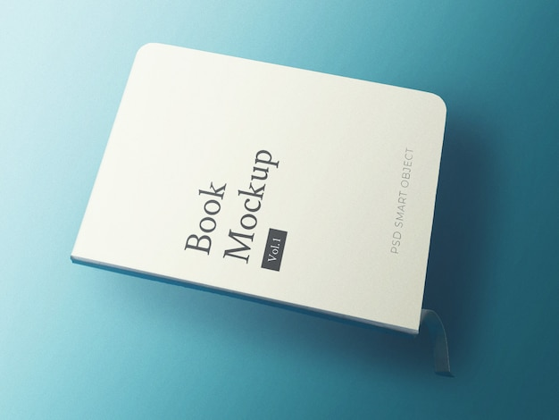 Book cover mockup with blue aqua background