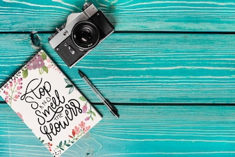 Book cover mockup with camera and copyspace