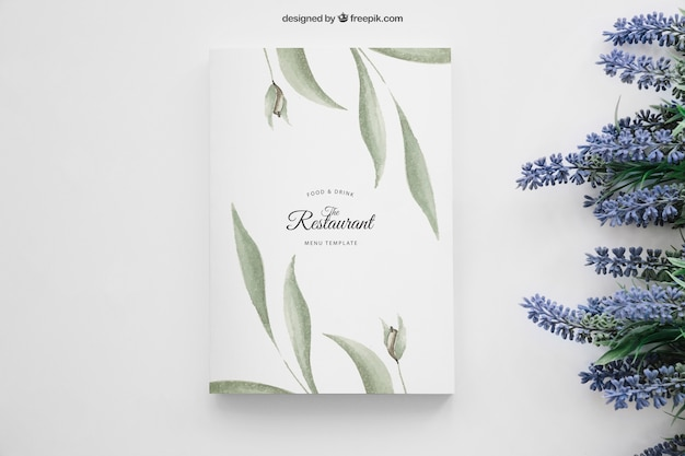 Book cover mockup with flowers on right