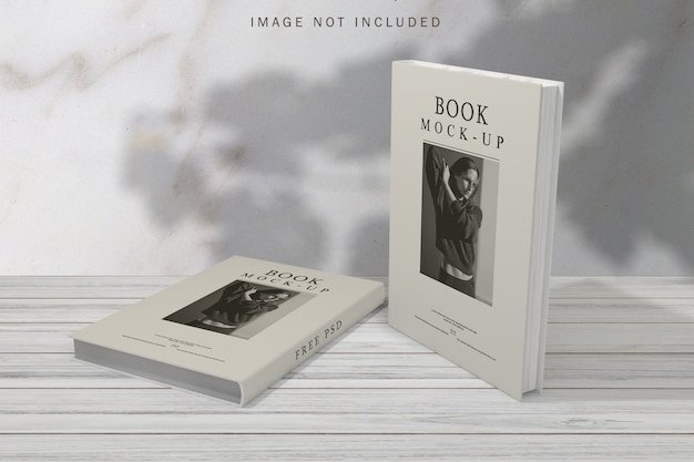 Book cover mockup with shadow overlay background