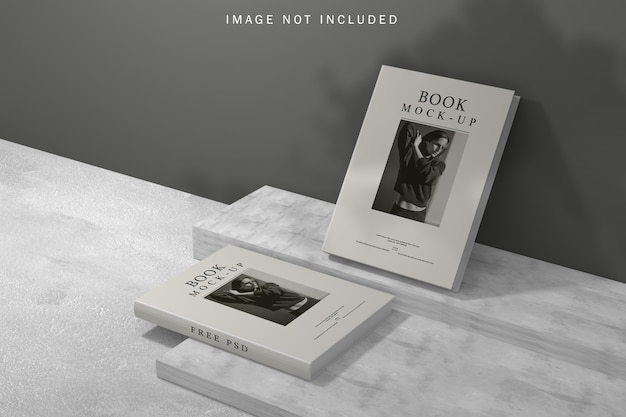 Book cover mockup with shadow overlay