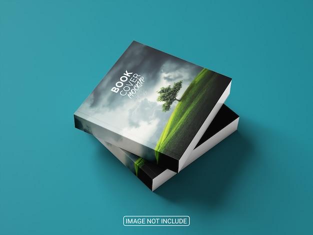 青い背景のモックアップの本の表紙