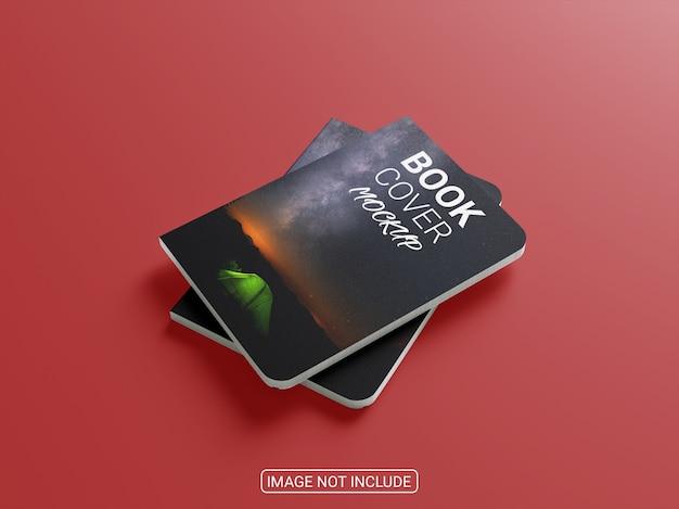 빨간색 배경 모형에 책 표지