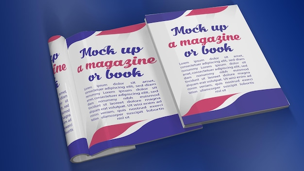 Book cover and open book mockup