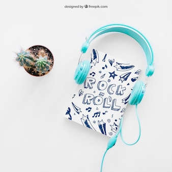 Book cover template with cactus and headphones