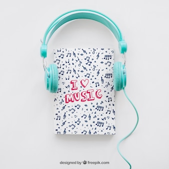 Book cover template with headphones