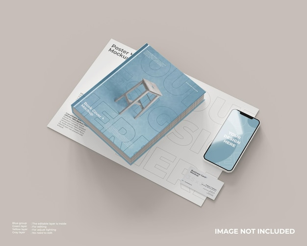 Book cover with poster, business card and smartphone mockup
