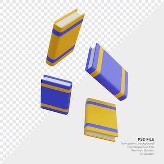 Book falls 3d illustration