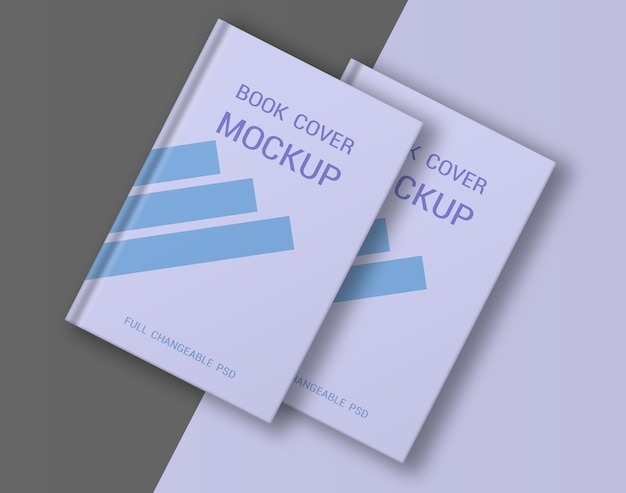 Book hard cover mockup design isolated