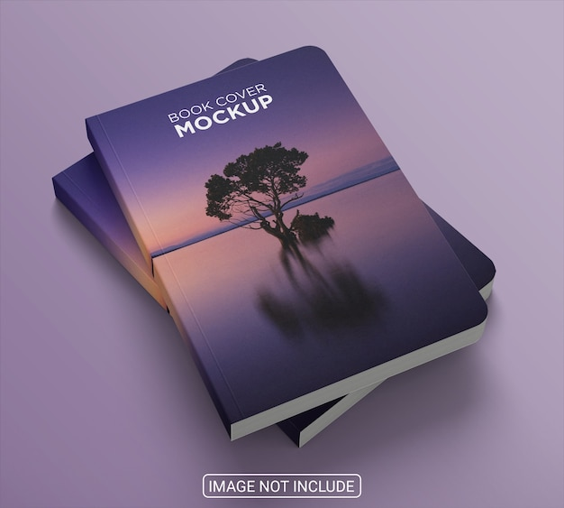 Book hardcover on blue background mockup