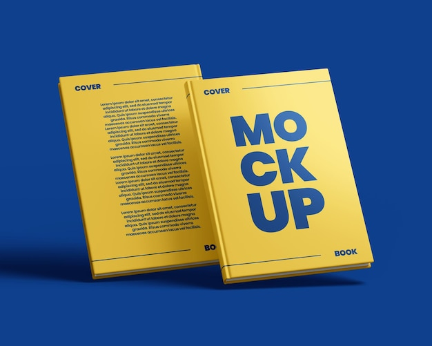 Book hardcover mockup back and front view